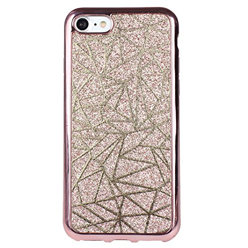iPhone 7 Schale 4.7 Zoll Glitter Case, iPhone 8 Hülle Glitzer, iPhone 7 Hülle Glitzer, Moon mood® Kristall Sparkle Schutzhülle für Apple iPhone 7/8 mit Streifen Thin Dünn Weich TPU Schutz Etui Cover,  3PCS-2