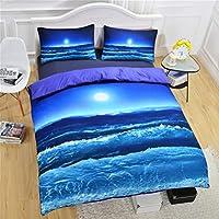 WFH Marine Active Printing Verblasst Nicht Heimtextilien Bettwäsche, 3 Stück Reversible Polyester Bettbezug Set Enthält 1X Bettbezug - 2X Kissenbezug,King264cmx228cm