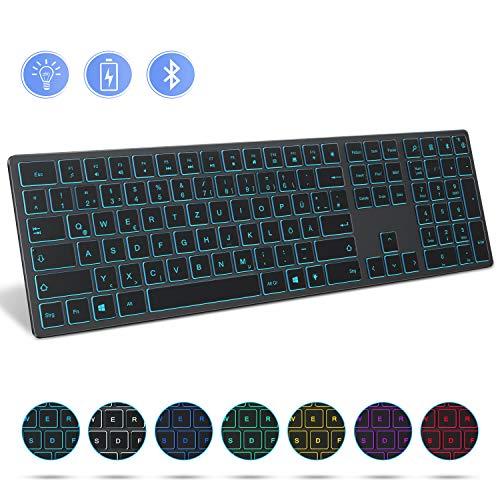 Jelly Comb Bluetooth Beleuchtete Funktastatur, Kabellose Wiederaufladbare Ultraslim Fullsize Tastatur, QWERTZ Deutsches Layout, mit 7 farbigen Beleuchtung für Windows PC, Laptop und Tablet, Grau