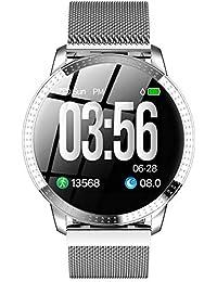 Denret3rgu Pulsera Inteligente Deportivo CF18 Rastreador de Ejercicios Impermeable para monitorear el Ritmo cardíaco Reloj - Plateado