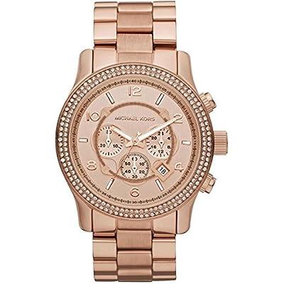 Michael Kors MK5576 - Reloj con correa de acero y goma para mujer, color marrón / gris