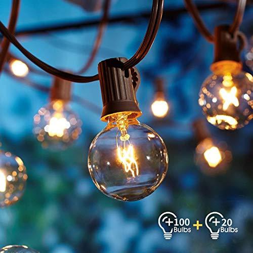 Lichterkette Außen, Lichterkette Gluehbirne Aussen,[Verbesserte Version] OxyLED G40 100 FT/30,48 m Lichterkette Garten, Wasserdicht (100 Birnen,20 Ersatzbirnen, gelbliches Licht) -