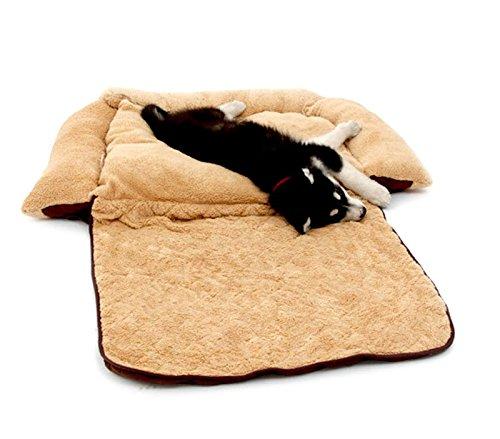 Poltroncina allungabile cani doppia funzione cuccia morbida 112x55x18 di colore beige. media wave store