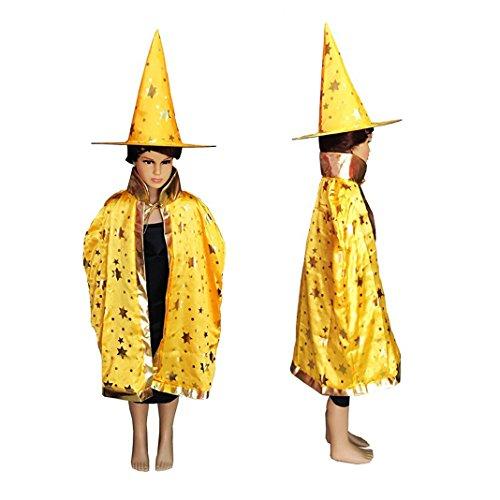 Asnlove Kinder Kostüm Zauberer Set mit Hut Design Funkelnde Sterne Gelb (Krankenschwestern Kostüme Accessoires)