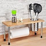 Küchenregal Gewürzregal Silber inkl.Edestahlbecher und Küchenrollenhalter mit Bambusablage Küchenhelfer