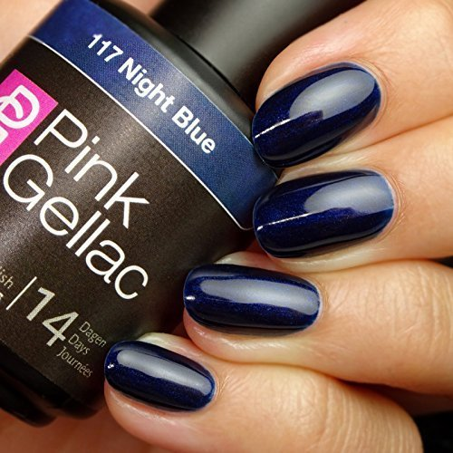 Pink Gellac 117 Night Blue UV Nagellack. Professionelle Gel Nagellack shellac für mindestens 14 Tage perfekt glänzende Nägel