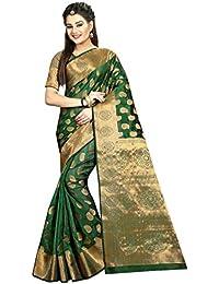 Hinayat Fashion Women's Banarasi Silk Saree, Free Size (Mango Green, 2HNT01SRI409)