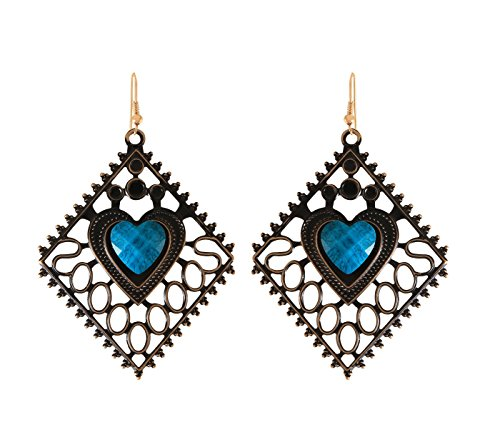 Arittra Antique Design Heart Shape Earring Jalli Blue Colour ethnic\traditional\tribal\ statement \party style Necklace Set for women and girls-Valentine gift,todays ... ...  available at amazon for Rs.110