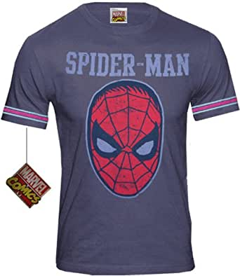 original Marvel Comics Herren T-Shirt Spiderman COLLEGE blau (L)