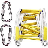 Escalera de Cuerda de Emergencia contra Incendios Escalera de Cuerda Resistente al Fuego con mosquetones - Rápido de implementar y Fácil de Usar,10M
