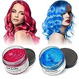 Cera Capelli Crema Colorante per Capelli Colore Temporaneo Modellante Lunga Durata per DIY Colorare e Modellare(120g) (Blu e Rosso)