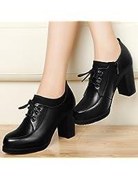KHSKX-Oxford Scarpe Appartamento Solo Scarpe Scarpe Di Pelle Nera Inglese Vento Piccole Le Scarpe Di Cuoio In Autunno Scarpa Femminile Testa Rotonda 35 Black