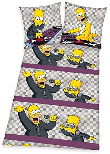 Herding 460918050-Simpsons, da federa 80x 80cm, copri-piumino 135x 200cm, 100% cotone di flanella