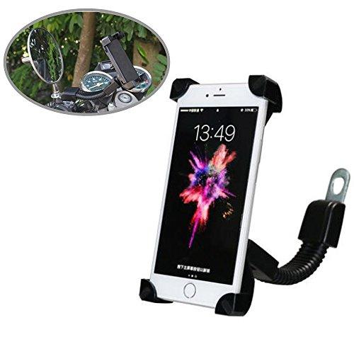Motociclo Supporto Telefono, SUNSEATON Universale Titolare Scooter/Moto Elettrica Retrovisore Specchio Telefono Supporto per iPhone 8/8Plus/7/7Plus/6s/6/5s/4s/Ipod/GPS/MP4/Samsung S7/S6/Edge ecc
