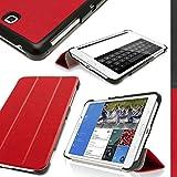 """igadgitz Rojo Funda Eco Cuero para Samsung Galaxy Tab 4 7"""" SM-T230 con Supporto + Protector Pantalla"""