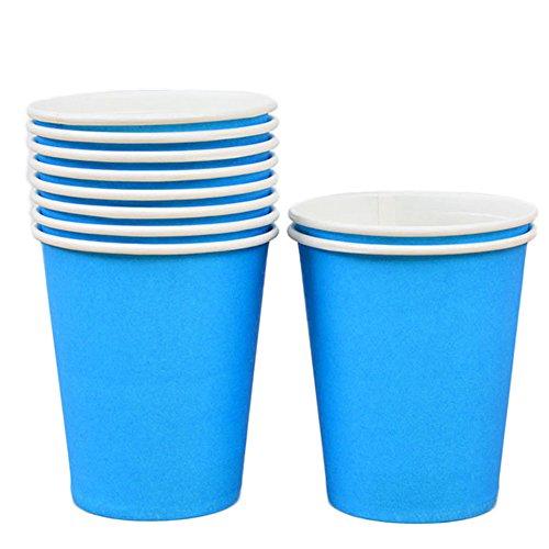 WDOIT 10 pcs jetables Tasses à café Vaisselle en Carton Boisson Chaude Mariage Pique-Nique Enfant fête d'anniversaire 250 ML, Papier, Bleu, 250 ML