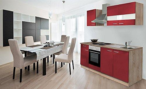 respekta Küche Küchenzeile Einbauküche 210 cm Eiche Sonoma Sägerau Rot KB210ESR