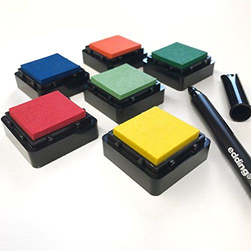 Stempelkissen (6er Set) bunt INKL. STIFT für Fingerabdrücke, zum Basteln und zum kreativen Gestalten