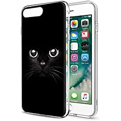 Funda iPhone 8 Plus, Eouine Cárcasa Silicona 3d Transparente con Dibujos Impresión Patrón Suave TPU Bumper Case Cover Fundas Movil para Apple iPhone 7 Plus /8 Plus - 5,5 Pulgada (Gato negro)