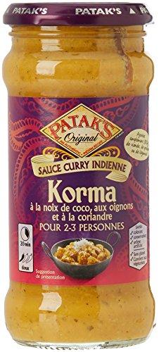Pataks Sauce Korma,  sauce curry indienne à la noix de coco, oignon coriandre 350 g