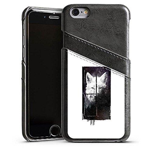 Apple iPhone 5 Housse étui coque protection Loup Nuit Art Étui en cuir gris