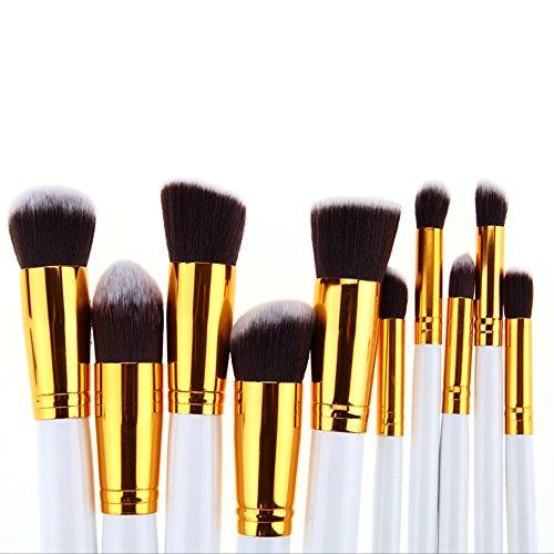 Vander 10pcs Makeup Brushes Set Cosmetic Tool Eyeshadow Foundation Blush Brush Wooden Handle ,Gift for Valentine (Gold+White)
