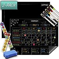 VALUE 2-PACK - Magnetic Reward/Chore Chart & Reusable Dry Erase Chalkboard/Notice board - 30cm x 40cm - Suitable For Up To 3 Children/Adults - Eliminate Stress & Reward Good Behaviour