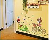 ZBYLL Stickers Cartoon Little Girl's Ride Le birdsfor vélo Chambres Enfants Chambres PVC muraux Papier Peint décoration Chambre Nursey...