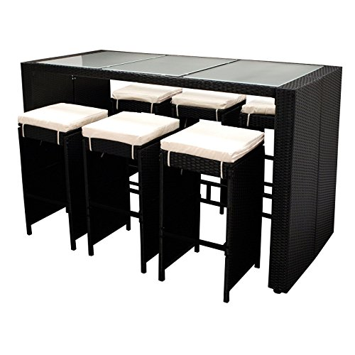 Polyrattan Gartenbar Davos schwarz 7teilig Barset 6Barhocker Sitzgarnitur Theke