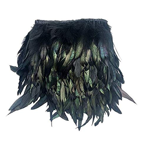Black Rock Kostüm Feather - Neueste Art und Weise Black Feather Sewing Trimmen Kragen Peacock Tücher Fringe Abendkleid Coque Nette Cocktailkleid