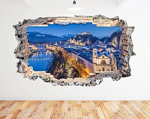 tekkdesigns N872Aerial Panorama View Österreich zerstörten Wand Aufkleber 3D Kunst Aufkleber Vinyl Zimmer (Riesige (100x 175cm)) -