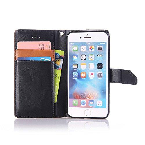iPhone 6Plus/6S Plus 14cm avec Bumper plaqué, newstars 3en 1Coque antichoc ultra fine Texture PC Coque arrière de protection rigide Shell Housse Coque protection tous les rond pour iPhone 6Plus/6 P- Black+Brown