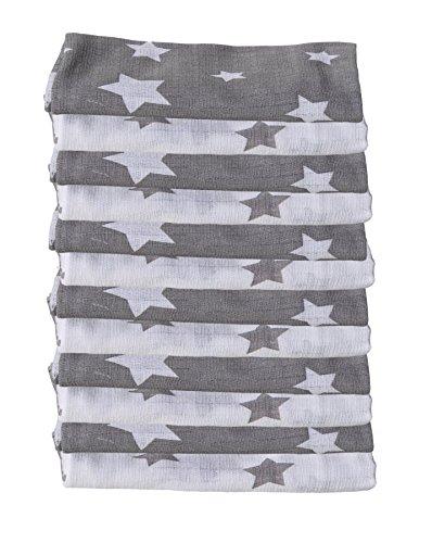 Clevere Kids Mulltücher mit Sternen grau-weiß 12er Pack 100 {fd43214c16d87723ce4d46590f7f0ebac393a21794549890d3cbe52ac88f60c1} Baumwolle schadstofffrei doppelt gewebt