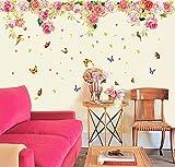 ufengke® Schönen Rosen und Schmetterlingen Wandsticker, Wohnzimmer Schlafzimmer Entfernbare Wandtattoos Wandbilder