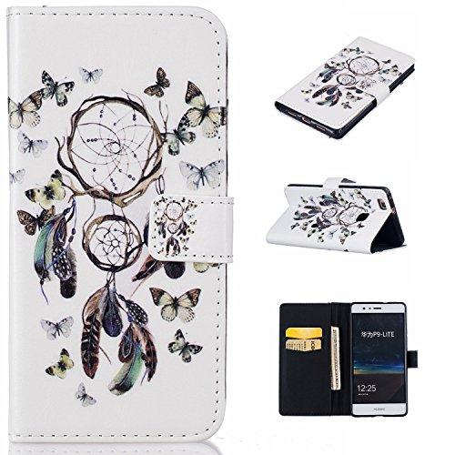 Preisvergleich Produktbild für Huawei P9 lite PU Wallet Case Schutz Hülle für Huawei P9 lite - Cover Flip Tasche mit Kartenfach in Buch Stil mit Kartenfach Standfunktion Magnetverschluss und Hand Wrist + Staubstecker (A1)