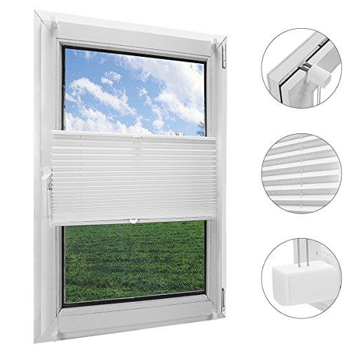 OBdeco Plissee Rollo Klemmfix ohner Bohren Faltrollo für Fenster Blickdicht Sonnenschutz Easyfix Weiß 60x130cm
