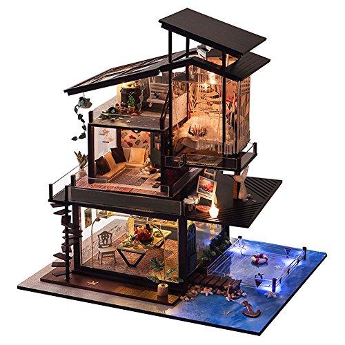 Puppenhaus DIY Haus mit Zubehör und Möbel Kreative Geburtstag Weihnachtsgeschenk für Kinder (A)