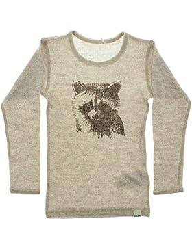 CeLaVi Kinder Unisex Langarm-Shirt aus Wolle, Waschbär Motiv, Farbe: Beige meliert/Braun, 330162