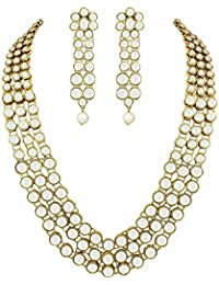 Youbella Party And Wedding Wear Gold Plated Necklace Jewellery Set With Earrings For Girls/Women