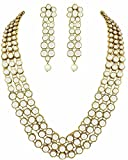 Shining Diva Gold Plated Traditional Jewellery Kundan Pearl Necklace Set with Earrings For Women (White) (rrsd6706s)