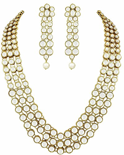 I Jewels Traditional Gold Plated Kundan Jewellery Set for Women IJ301W (White)