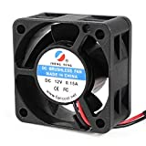 Water & Wood 40mmx20mm 2 Pin Wire 5 Blades DC 12V 0.15A Brushless Cooling Fan Black