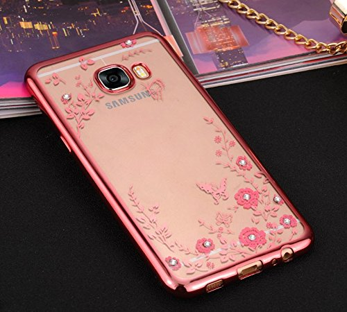 KolorFish Little Flower Butterfly TPU Transparent Back Cover Case For Samsung Galaxy C7 Pro - Rose Pink