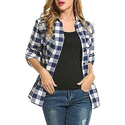 Zeagoo Mujer Camiseta Blusa de Manga Larga de Cuadrados