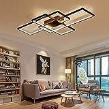 Jsz LED Dimmable Plafonnier Salon Lampe avec Télécommande Moderne Plafond Plafond Creative Métal Acrylique Design Plafond Lampe Éclairage Chambre Décor Lampe,Noir,105cm...