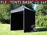 Dancover Tente Pliante Chapiteau Pliable Tonnelle Pliante Barnum Pliant FleXtents Basic v.2, 2x2m Noir, avec 4 cotés