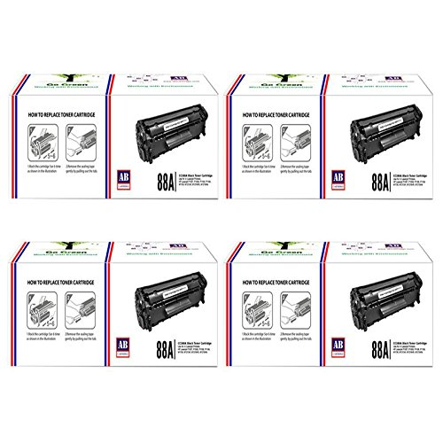 AB 88A Black Toner Cartridge CC388A Compatible for HP LaserJet - P1007 P1008 P1106 P1108 M1136 MFP M202 M202n M202dw M226dw M226dn M1213nf M1216nfh M1218nfs M126nw M128fn M128fw (Pack of 4)  available at amazon for Rs.2440