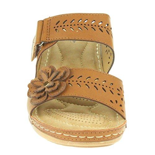 Frau Damen Blume Doppelriemen Gepolsterte Komfort Sohle Breite Passform Beiläufig Slip On Keilabsatz Sandalen Schuhe Größe Braun