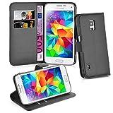 Cadorabo Hülle für Samsung Galaxy S5 ACTIVE - Hülle in PHANTOM SCHWARZ – Handyhülle mit Kartenfach und Standfunktion - Case Cover Schutzhülle Etui Tasche Book Klapp Style