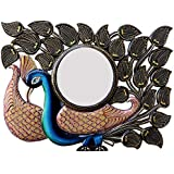 Royal Handicraft Exports Wood Peacock Wall Mirror (60.96 Cm X 4 Cm X 45.72 Cm, GAC063)